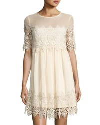 Romeo And Juliet Couture Crochet Lace Inset Shift Dress Ivory