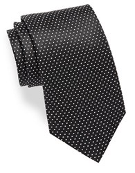 Hugo Small Dotted Silk Tie Black