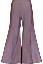 Acne Studios Olexa Cropped Cotton Twill Wide Leg Pants Violet