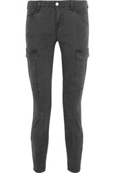 J Brand Houlihan Cropped Stretch Cotton Twill Skinny Pants Anthracite