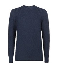 Boss Crew Neck Tonal Zig Zag Sweater Navy