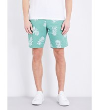 Tommy Hilfiger Brooklyn Pineapple Patterned Classic Fit Cotton Shorts Frosty Spruce