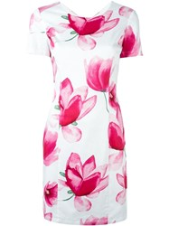 Armani Jeans Floral Print Fitted Dress White
