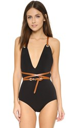 Michael Kors Wraparound Belted Maillot Black