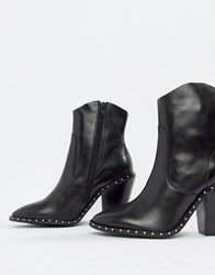 Bronx Heeled Leather Western Boots Black