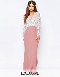 Elise Ryan Maxi Dress With Lace Bodice And Embellished Waist Dusky Rose Cream Pink