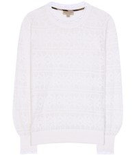 Burberry Trebbia Knit Wool And Cashmere Sweater White