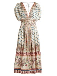 Etro Striped And Paisley Print Silk Midi Dress Blue White