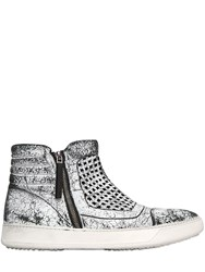Bruno Bordese Crackled Leather High Top Sneakers