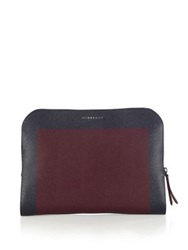 Burberry Forman Leather Portfolio Bordeaux Navy