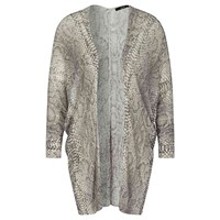 Oui Snake Print Cardigan Light Stone Grey