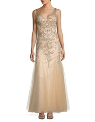Sean Collections Beaded Open Back Gown Champagne