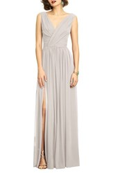 Dessy Collection Women's Surplice Ruched Chiffon Gown Oyster