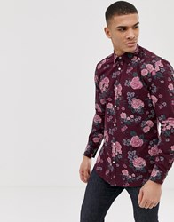 French Connection Large Floral Slim Fit Shirt Red