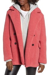 Bp. Textured Double Breasted Coat Coral Sunkist