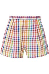 Mds Stripes Pleated Gingham Cotton Shorts Yellow