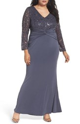 Marina Plus Size Women's Sequin Lace And Jersey Mermaid Gown Gunmetal