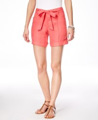 Inc International Concepts Self Tie Belted Linen Shorts Only At Macy's Polished Coral