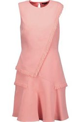 Raoul Ellery Layered Fringed Crepe Mini Dress Blush