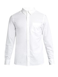 Frame Button Cuff Cotton Chambray Shirt White