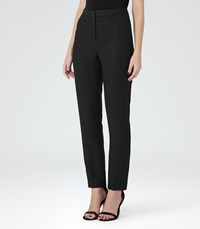 Reiss Simona Trouser Womens Metallic Tailored Trousers In Black