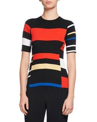 Proenza Schouler Short Sleeve Colorblock Knit Top Multi Multi Pattern