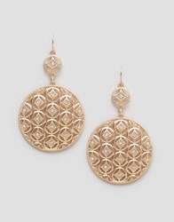 Ny Lon Nylon Etched Disc Drop Earrrings Burnished Gold