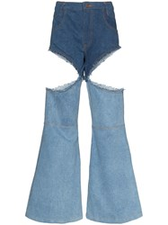 Telfar Cut Out Boot Cut Jeans Blue