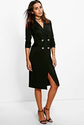 Boohoo Double Breasted Blazer Dress Black