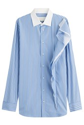 Maison Martin Margiela Striped Cotton Shirt Blue