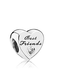 Pandora Design Pandora Charm Sterling Silver And Cubic Zirconia Friendship Heart