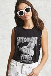 Forever 21 Vibes Graphic Muscle Tee Black White