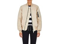 Ben Taverniti Unravel Project Women's Distressed Insulated Bomber Jacket Beige Nude