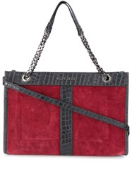 Marc Ellis Crocodile Effect Trim Tote Red