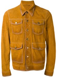 Dsquared2 Four Pockets Jacket Men Calf Leather 54 Yellow Orange