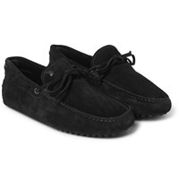 Tod's Gommino Suede Driving Shoes Black