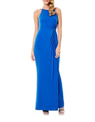 Laundry By Shelli Segal Twist Front Beaded Gown Blue Beret