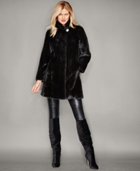 The Fur Vault Three Quarter Length Mink Fur Coat Mahogany