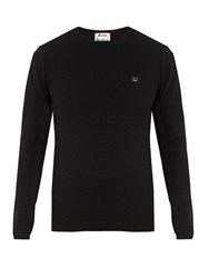 Acne Studios Dasher Face Patch Wool Sweater Black