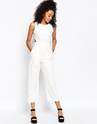 Asos Denim Wide Leg Cut Out Jumpsuit In White White