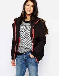 Bellfield Short Padded Jacket With Contrast Zip And Faux Fur Hood Black