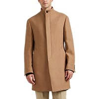 Barneys New York Double Faced Wool Blend Slim Overcoat Camel