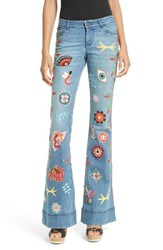 Alice Olivia Women's New Ryley Embroidered Flare Leg Jeans
