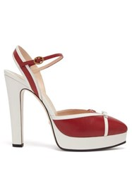 Gucci Alison Leather Platform Pumps Red White
