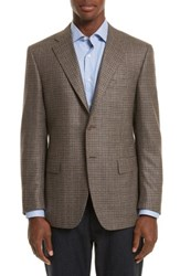 Canali Men's Classic Fit Check Silk And Wool Sport Coat Beige