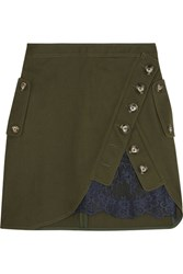 Self Portrait Lace Paneled Cotton Twill Mini Skirt Army Green