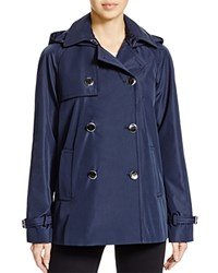 Calvin Klein Double Breasted Short Raincoat Navy