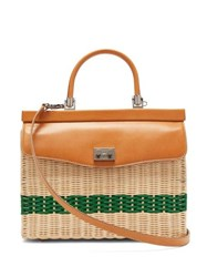 Rodo Wicker And Leather Box Bag Beige Multi