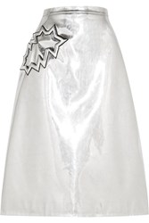 Christopher Kane Metallic Pvc Midi Skirt Silver Metallic