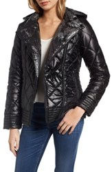 Guess Women's Reversible Packable Asymmetrical Quilted Jacket Black Silver